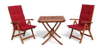 Grasekamp Balkonmöbelgruppe Santos Rubin Uni 5tlg  mit Klapptisch 80x80cm Gartenmöbel  Essgruppe rot