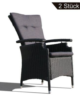 Famous Home 2 Rattan Sessel Relaxsessel Gartenstühle  Schwarz schwarz