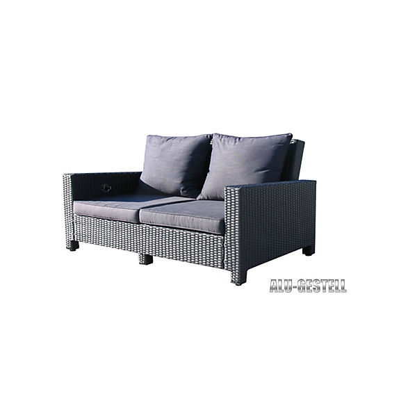 Superb Rattan Lounge Sofa 200Cm Couch Futon Couchgarnitur Schwarz Famous Home Interior Design Ideas Greaswefileorg