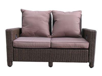 Grasekamp Rattan Lounge Sofa 140cm Couch Futon  Couchgarnitur Braun Gartensofas braun