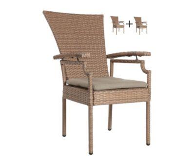 Famous Home 2 Poly-Rattan Gartensessel Brasil  Gartenmöbel Relaxsessel mit Sitzkissen braun