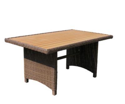 Grasekamp Rattan Tisch Ibiza 150x90cm Polystyrol  Massivplatte Polyrattan Gartentisch Gartentische braun