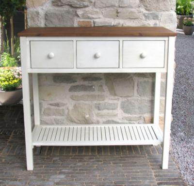 Grasekamp Premium Pflanztisch Toskana 100 x 45 x  95 cm Akazie Weiß Gartentisch Sideboard weiß