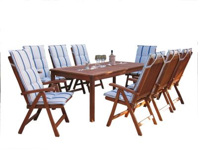 Grasekamp Gartenmöbel 17tlg mit 200cm Tisch  Terrassenmöbel  Santos Marine blau/beige