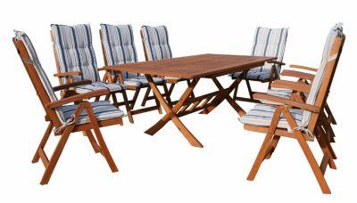 Grasekamp Gartenmöbel 17tlg mit 200cm Klapptisch  Terrassenmöbel Santos Marine natur