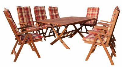 Grasekamp Gartenmöbel Set 17tlg Terrassenmöbel  Santos Sunshine bunt