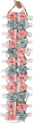 Adventskalender-Clips, Zahlen 1-24, 3,8x3,1cm rosa/grün
