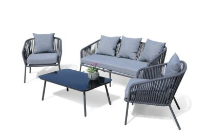 Grasekamp Lounge Sitzgruppe 4 teilig mit dicken  Kissen Grau Coffee Set Arezzo Aluminium  Loungeset Garten Sitzgruppe Loungemöbel Gartenmöbelsets grau