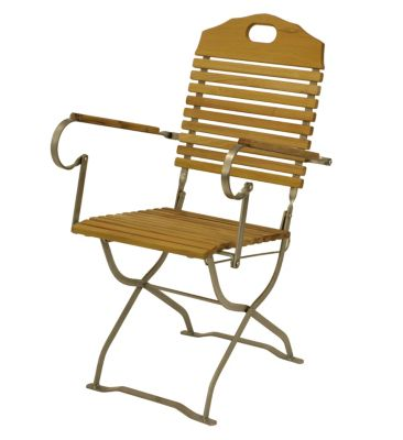 DEGAMO® Kurgarten - Sessel BAD TÖLZ, Flachstathl verzinkt + Robinie, klappbar Gartensessel silber