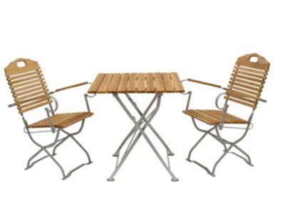 DEGAMO® Kurgarten - Garnitur BAD TÖLZ 3-teilig, Flachstahl verzinkt + Robinie, klappbar (2x Sessel, 1x Tisch 70x70cm) si