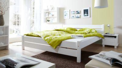 TICAA Massivholz Einzelbett Bora Kiefer Weiß weiß Gr. 100 x 200