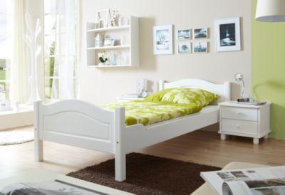 TICAA Massivholz Einzelbett Rita Kiefer Weiß weiß Gr. one size