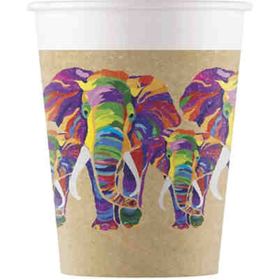 Kompostierbar 8 Pappbecher 200ml Design Elephant Kompostierbar
