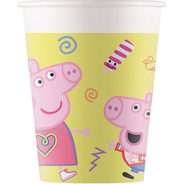 Peppa Wutz 8 Pappbecher 200ml Design Peppa Pig Messy play