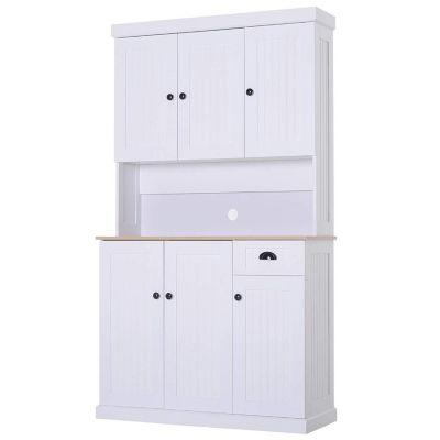 HOMCOM Küchenschrank mit Arbeitsplatte weiß