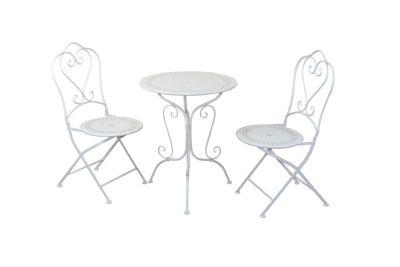 3tlg. Sitzgruppe Gartenmöbel weiß