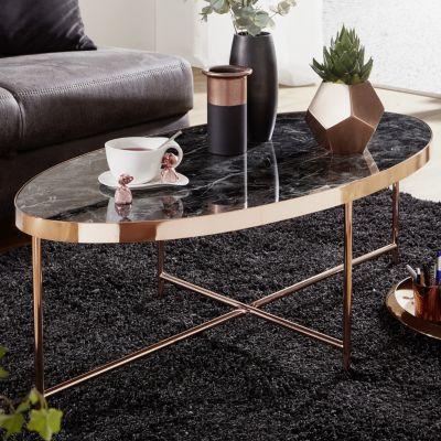 WOHNLING Couchtisch Marmor Optik Schwarz - Oval Tisch 110x56 cm Kupfer Metallgestell Großer Wohnzimmertisch schwarz