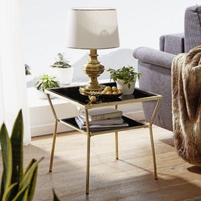 WOHNLING Couchtisch Glas Schwarz Gold in 2 Größen Metallgestell Wohnzimmertisch Beistelltisch Glastisch gold