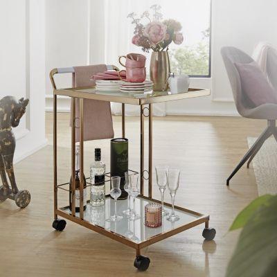 WOHNLING Servierwagen Gold 67x80x45 cm Mobiler Beistelltisch Küchenwagen mit Glasplatte Teewagen Mini Bar gold