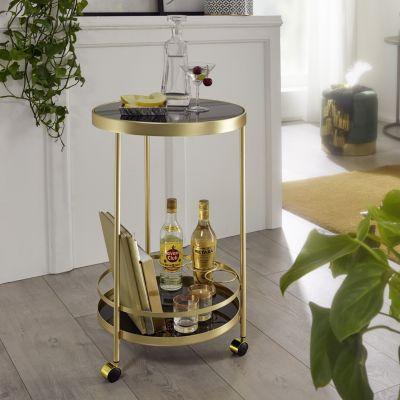 WOHNLING Servierwagen Gold Ø 45cm 2 Ebenen Beistelltisch auf Rollen mit Glasplatte Küchenwagen Teewagen gold