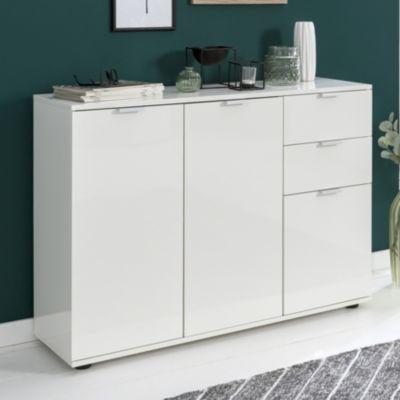 WOHNLING Sideboard Weiß WL5.853 76x74,5x35 cm Kommode Hochglanz Highboard Klein Wohnzimmerschrank Anrichte weiß