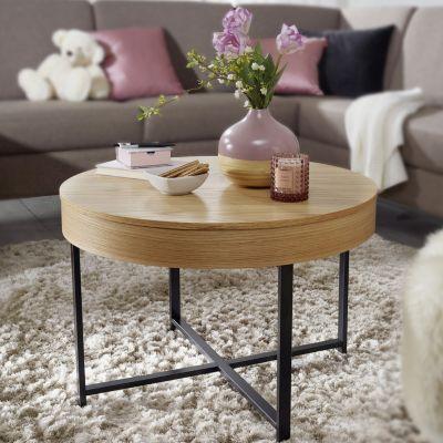 WOHNLING Couchtisch Rund Ø69 cm mit Eichen Optik Tisch mit Stauraum Lounge-Wohnzimmertisch mit Metallbeine braun