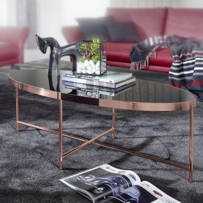 WOHNLING Couchtisch Glas Schwarz - Oval 110x56 cm Metallgestell Großer Wohnzimmertisch Lounge Tisch Glastisch kupfer