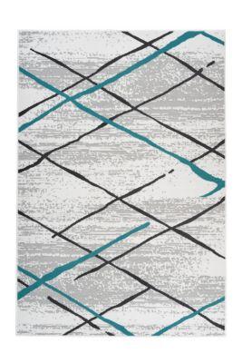 Kayoom Flachflorteppich - Vancouver 110 Weiß / Grau / Türkis weiß/grau Gr. 80 x 150 | Heimtextilien > Teppiche > Sonstige-Teppiche | Weiß - Grau | Kayoom