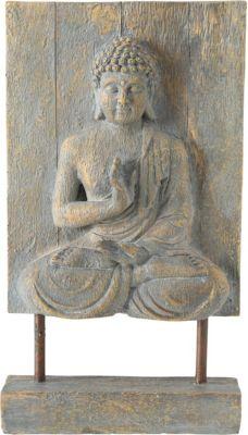 BOLTZE Dekofigur Buddha Elya mit Stand L22 x B8 x H40 cm grau | Dekoration > Figuren und Skulpturen > Figuren | BOLTZE
