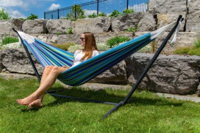 Vivere Doppel Baumwolle Hängematte mit Hängemattengestell 250 cm, Maui mit kostenlose Tragetasche blau/lila | Garten > Hängematten | yomonda