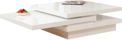 SalesFever Couchtisch, ausziehbar, B120 x T80 x H30 cm weiß