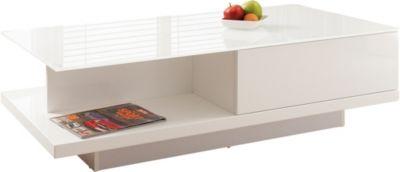 SalesFever Couchtisch mit Glasplatte, B120 x T60 x H36 cm weiß Gr. 60 x 120
