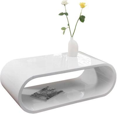 SalesFever Fiberglas Couchtisch, B120 x T60 x H40 cm weiß