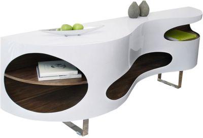 SalesFever Sideboard, B200 x T50 x H75 cm braun/weiß