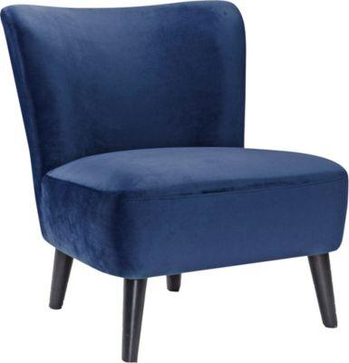 SalesFever Samt Sessel Retro, B73 x T77 x H80 cm blau