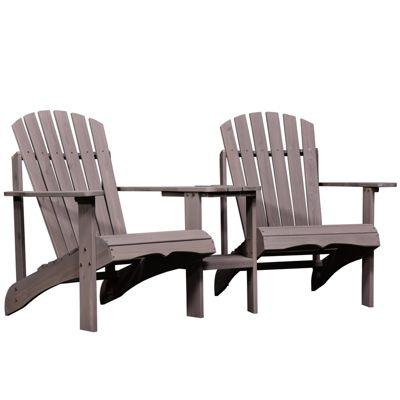 Outsunny Gartenbank mit Tisch und Schirmloch braun
