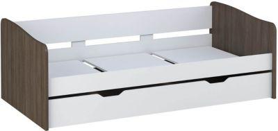 Polini-kids Kinderbett Jugendbett mit Bettkasten Doppelbett 4210 weiß trüffel