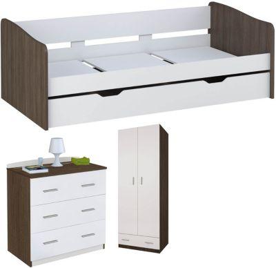 Polini-kids Polini Home Zimmer Kleiderschrank mit Bett und Kommode weiß trüffel
