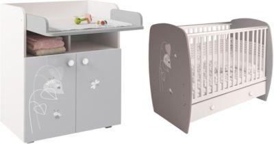 Polini-kids Kinderzimmer French Amis weiß grau Kinderbett mit Kommode