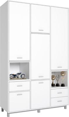 Polini-kids Polini Home Kleiderschrank Mirum weiß mit weißen Einsatzelementen 5-türig