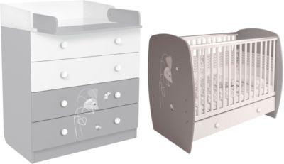 Polini-kids Kinderzimmer French Amis Babybett mit Kommode in grau-weiß weiß/grau