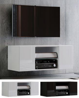 VCM TV Wand Board Tisch Fernsehtisch Schrank Lowboard Hängeschrank Wandschrank Rack Hochglanz 'Jusa Hochglanz, Breite 115 cm schwarz/weiß
