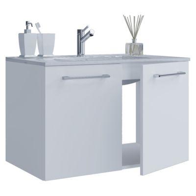 VCM 2-tlg. Waschplatz Set Badmöbel Waschbecken Keramik Waschtisch 2 Drehtüren, Breite 80 cm weiß