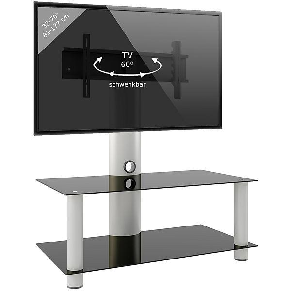 Tv Rack Lowboard Konsole Fernsehtisch Tv Mobel Glastisch Tisch Mobil Fahrbar Rollen Schrank Bank Valeni Maxi Schwarz Vcm Yomonda