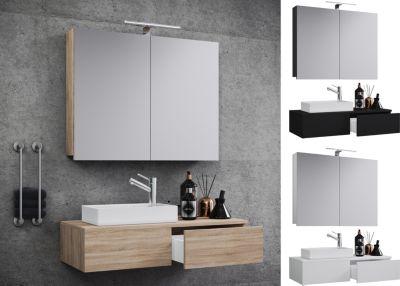Waschplatz Waschtisch Waschbecken Schrank + Spiegel WC Gäste Toilette Badmöbel klein schmal