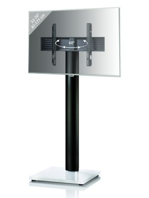 TV-Standfuß LED Ständer Fernseh Standfuss Alu Glas Universal Onu Maxi Universell VESA Mobil Rollen Fahrbar weiß | Wohnzimmer > TV-HiFi-Möbel > Ständer & Standfüße | yomonda