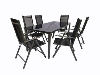 VCM Alu Sitzgruppe 190x80 Schwarzglas Gartenmöbel Gartengarnitur Tisch Stuhl Essgruppe Gartenset, inkl. 6 Stühle schwarz