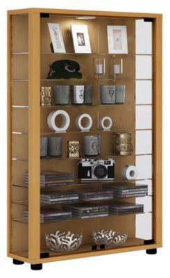 VCM Sammelvitrine Standvitrine Glasvitrine Glasregal Vitrine Glas Schaukasten Lumo Mini, ohne LED hellbraun | Wohnzimmer > Vitrinen > Sammlervitrinen | VCM
