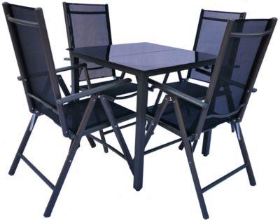 VCM Alu Sitzgruppe 140x80 Schwarzglas Gartenmöbel Gartengarnitur Tisch Stuhl Essgruppe Gartenset, inkl. 4 Stühle schwarz
