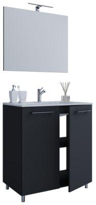 VCM 3-TLG Sonoma-Eiche Waschplatz Set Waschtisch Waschbecken Keramik Sentas Spiegelschrank 2 Schubladen Breite 80 cm